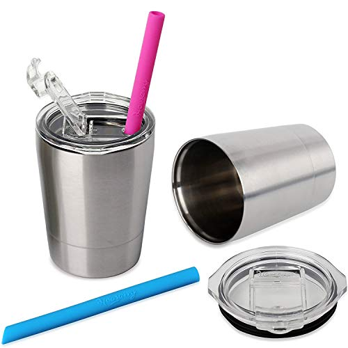 Housavvy Easy Cleaning Toddler Cups, 2 Pack Stackable Kids Cups Vacuum Insulated Double Wall Stainless Steel Cups with BPA Free Lids and Straws, Dishwasher Safe, 8.5 Oz, Pack of 2, Silver/Silver