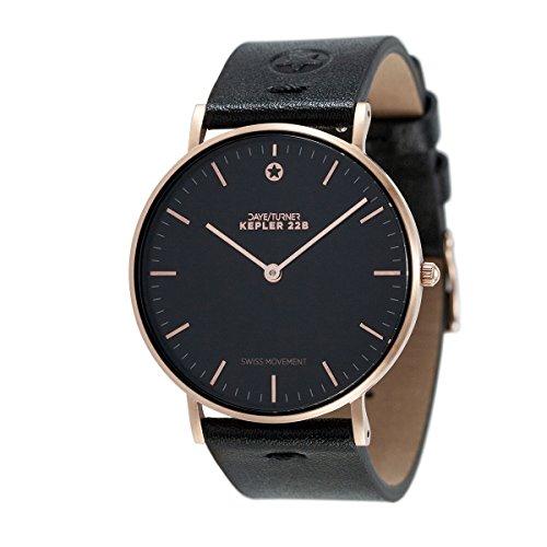 Daye/Turner Damen Uhr Analog Schweizer Uhrwerk mit Leder Armband DT-91SM34RG-33BK