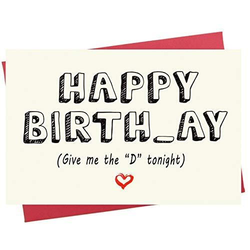 Birthday Card for Him   Naughty Happy Birthday Card for Boyfriend, Husband, Fiance   Funny Rude Card
