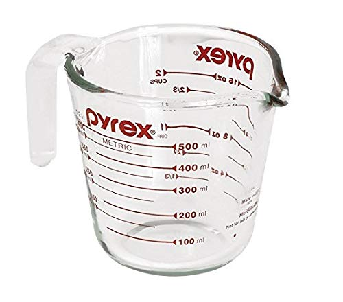 Pyrex Prepware 2-Cup Measuring Cup, Red Graphics, Clear (2, 16oz)