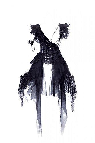 Abito stile Steampunk con piume, colore: nero