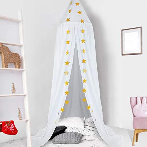 Baby Baldachin, Betthimmel Kinder, Ceekii Babys Bett Kinderzimmer Bettvorhang Baumwolle Deko Moskitonetz für Prinzessin Spielzelte Babybett & Schlafzimmer Dekoration mit Sternengirlande (Weiß)
