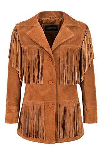 Carrie CH Hoxton Chaqueta de Cuero de Gamuza con Flecos para Mujer Chaqueta de Flecos Estilo Occidental clásico marrón Claro 5937 (44 EU)