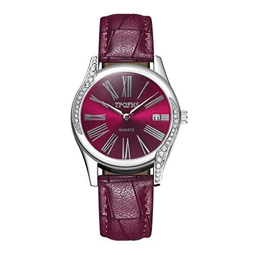 HBR Reloj de pulsera para mujer y niña, de acero inoxidable, de cuarzo, redondo, analógico, de piel, analógico, analógico, reloj de cuarzo para mujer (color: D)