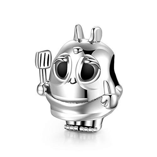 ZSCZQ Robot de Cuisine Perles Dessin animé Chef 925 Breloques en Argent Sterling pour Bricolage Bracelets Bracelets Fabrication de Bijoux de Luxe