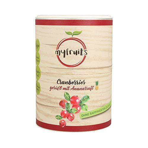 myfruits® Cranberries mit Ananassaft, getrocknet, ohne raffinierten Zucker. Perfekt für Müsli, Joghurt oder Salate (425g Dose)