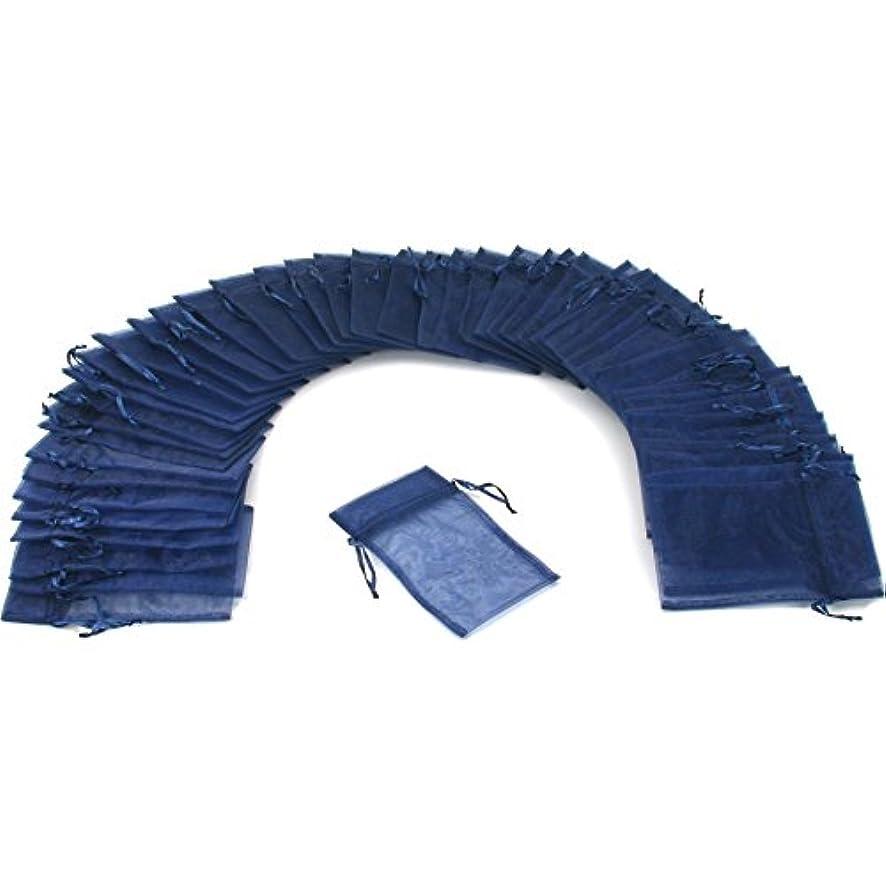 48 Jewelry Organza Drawstring Gift Bag Navy Blue 4x5
