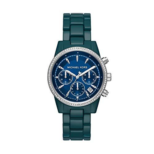 Michael Kors Women's Ritz Quartz Watch with Stainless Steel Strap, Blue, 18 (Model: MK6722)