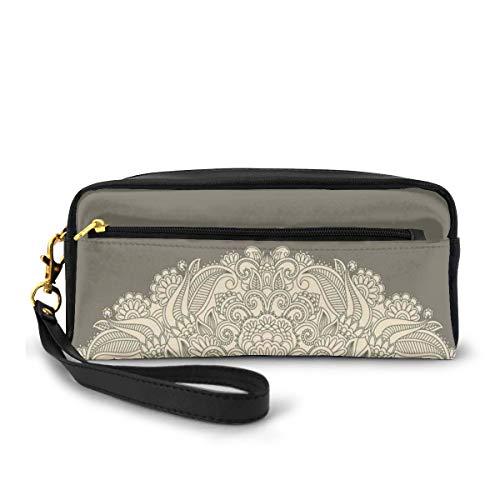 Pencil Case Pen Bag Pouch Stationary,Half Mandala Figure with Rich Floral Curls Traditional Vintage Motif,Small Makeup Bag Coin Purse