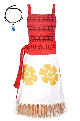 O.AMBW Vestido Hawaiano de Moana Cosplay Vaiana Heroina Jefe de la Isla Motunui Disfraz con Accesorio Moana Collar Aventura Navegar Cosplay para Carnaval Halloween Verano Playa Piscina Juego rol