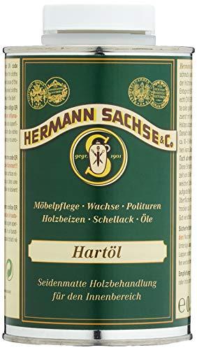 Hermann Sachse Hartöl - Farblos - 500ml - Holzöl - Möbelöl - Effektiver Holzschutz im Innenbereich - Natürliches Leinöl - Arbeitsplattenöl - Öl für Tische - Made in Germany