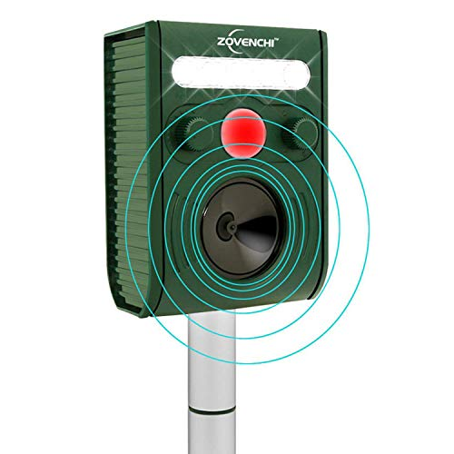 ZOVENCHI Ultrasonic Animal Repeller, Solar Ultrasonic Animal Scarer Support Cable Charging,Waterproof Wild Animal Expeller,Very Effective for Birds,Dogs,Cats,Raccoons,Squirrels,Skunks,Deer etc
