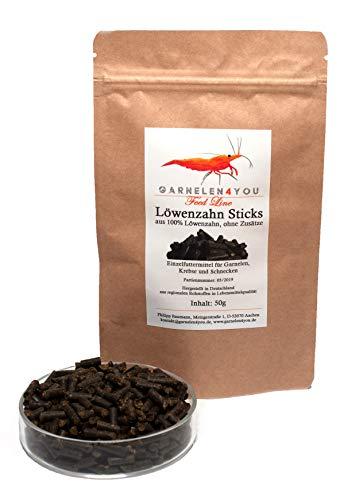 GARNELEN4YOU® Löwenzahn Sticks, 50 g hochwertige Futter Pellets zur entspannten Fütterung von Aquarienbewohnern wie Garnelen, Krebse und Schnecken, 1x 50g