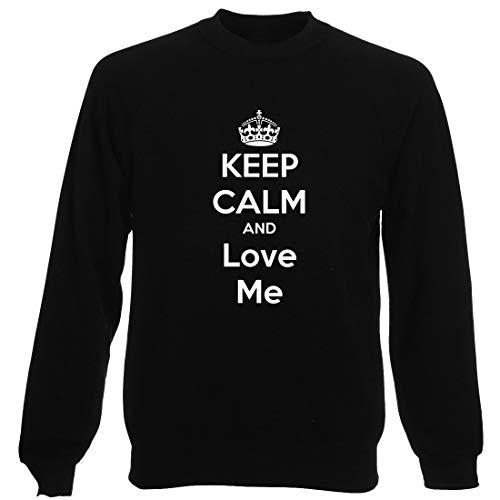 T-Shirtshock Sudadera por Hombre Negro TKC2182 Keep Calm and Love ME