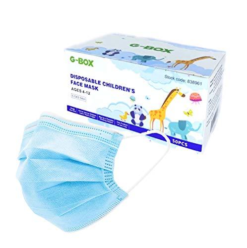 G-Box Kids Face Masks, Children's Face Masks Disposable, 3-Layer, Cute Cartoon Patterns(50-pcs) (Blue Regular)