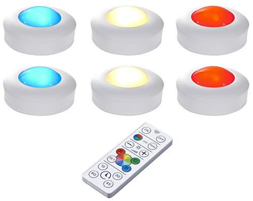 Northpoint LED Beleuchtungsspots 6er Set Unterbauleuchte Schrankbeleuchtung Vitrinenbeleuchtung inkl. AA-Batterien