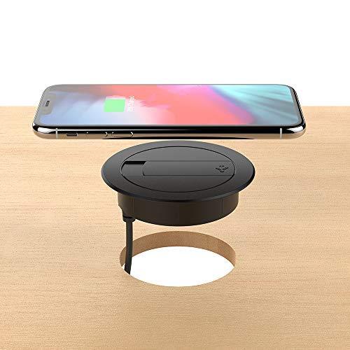 Foluu Caricatore wireless, 10 W, stazione di ricarica veloce wireless e caricabatterie con cavo USB, compatibile con iPhone Xs Max/XS/XR/X/8 Plus, Galaxy S9/S9+/S8/S8+, telefoni abilitati Qi, nero
