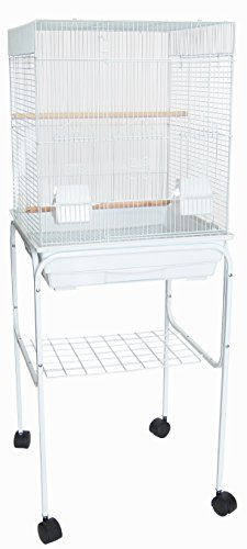 """YML 5824 3/8"""" Bar Spacing Square Top Bird Cage with Stand, 18"""" x 14""""/Small, White"""