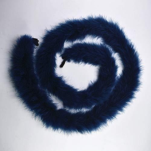 SHFives 2 Metros/Lote Plumas de Pavo esponjosas Boa Aproximadamente 50 g Marabú Pluma Blanca Negra para Manualidades Boas Strip Carnaval Disfraz Plumas Plumas, Azul Marino