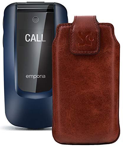 Suncase Original Tasche kompatibel mit Emporia Comfort Hülle Leder Etui Handytasche Ledertasche Schutzhülle Hülle in Mocca braun