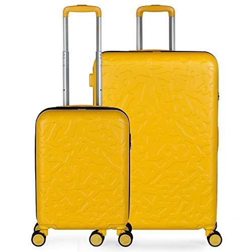 Lois - Juego de Maletas de Viaje Rígidas Ligeras 2 pzs. Set Trolley ABS 4 Ruedas Cabina y Grande Resistentes y Robustas. Conjunto Equipaje Avión 171117, Color Mostaza