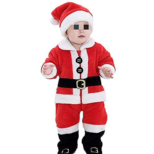 Huyghdfb Christmas Kids Toddler Baby Boys Girls Xmas Outfit Santa Claus Costumes Bodysuit Clothes Set (Red, 2-3 Years)