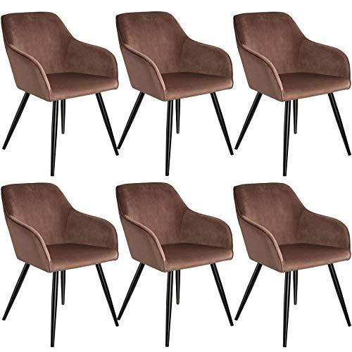 tectake 800867 6er Set Esszimmerstuhl mit Armlehnen, gepolstert, Sitzfläche aus Samt, Schwarze Metallbeine, für Wohnzimmer, Esszimmer, Küche und Büro (Braun Schwarz   Nr. 404044)