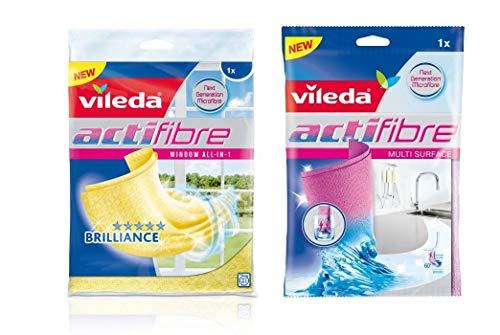 Vileda Reinigungstuch Actifibre,1 Stück &Vileda Reinigungstuch für Glas Actifibre, Gelb …