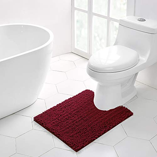 Walensee Bathroom Contour Rug Non Slip Toilet U Shaped Bath Mat (20x24, Red) Water Absorbent Super Soft Shaggy Chenille Machine Washable Dry Extra Thick Perfect Absorbant Best Plush Carpet