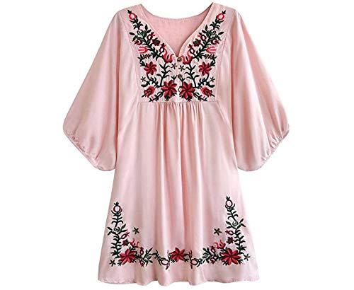Wangwang454 Blusa de Mujer Boho Hippie Flores Bordadas Vestido de Blusa Mexicana Vestido de Verano Blusa de túnica de Bordado Bohemio-SG_02 Rosa-A2
