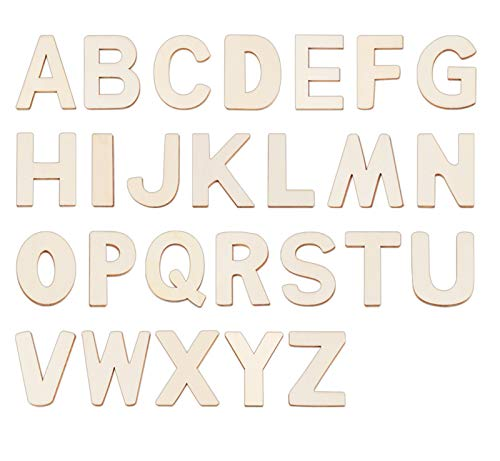 4' Wooden Letters - 52 Pcs Wood Letters for Crafts Unfinished Wood Letters for Wall Decor/Letter Board/DIY/Painted/Educational