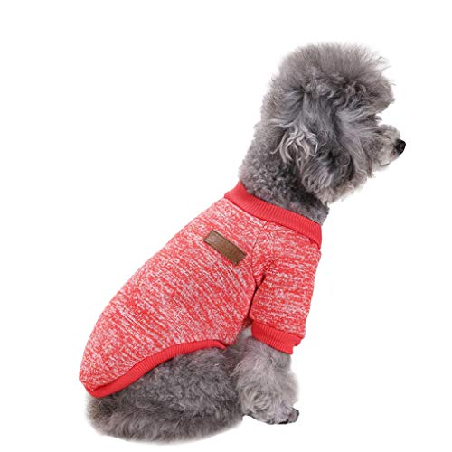 Fashion Focus On Pet Dog Clothes Knitwear Dog Sweater Soft Thickening Warm Pup Dogs Shirt Winter Puppy Sweater for Dogs (Red, M)