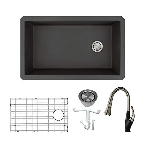 Transolid KF-RUSS3118-09 Radius Granite Undermount Super Single Bowl Kitchen Sink Kit, Including Faucet, 31.75-in L x 19.13-in W x 9-in H, Black