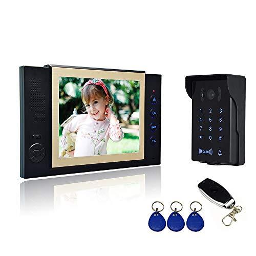 """Nudito Kit Videoportero, Interfono (1 Monitor TFT LCD a color de 8"""", 1 Cámara Infrarroja Exterior Impermeable con Visión Nocturna, Abre Puerta con llaveros RFID y Contraseña y Mando Remoto)"""
