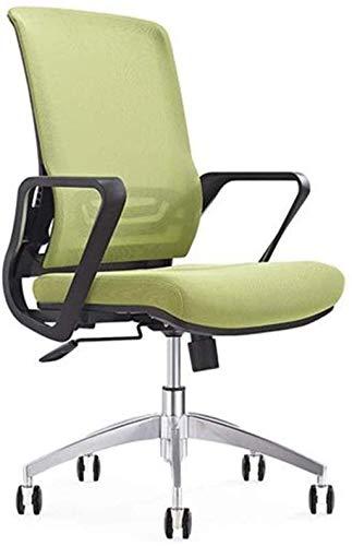HJW Silla de oficina ergonómica con reposabrazos elevador, malla transpirable, silla de oficina, ruedas ajustables y sillón, verde, tamaño libre