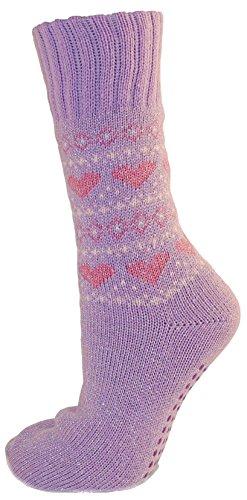 RJM Damen Herz Patterned Non Skid Slipper Socks Lilac EUR 36-39