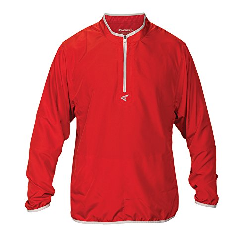 Easton Boys M5 Youth Long Sleeve Cage Jacket, Red/Silver, Large