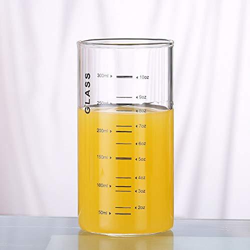 Gläser Milchbecher Borosilikatglas Milchtasse Saftgläser mit Skala Kaffeegläser Teegläser Trinkgläser Kältebeständig Glasmessbecher Heizbeständig Messbecher Getränkegläser Mikrowellengeeignet 300 ml