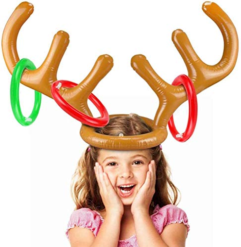 CUQOO Christmas Party Inflatable Reindeer Antler Hat Ring Toss Game with 4 Rings for Family Kids Children (One Antlers and 4 Rings), Xmas Party Time