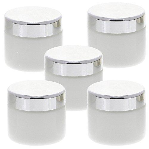Weiß Glas-Tiegel 50ml mit Deckel Silber, Leere Kosmetex Glas Creme-Dose, Kosmetik-Dose aus Weißglas, Weiß - Silber, 5 Stück