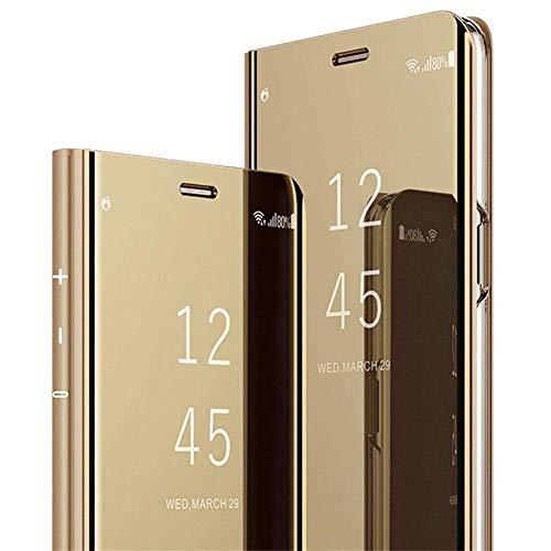 Hülle Kompatibel mit Samsung Galaxy A21S Spiegel Handyhülle Ultra Dünn Clear View Flip Case Mirror Slim PU Leder Flip Schutzhülle handyhülle mit Standfunktion für Galaxy A21S,Gold