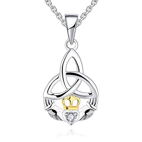 JO WISDOM Damen Halskette Claddagh Silber 925,Kette Anhänger keltischem Knoten mit AAA Zirkonia April Geburtsstein