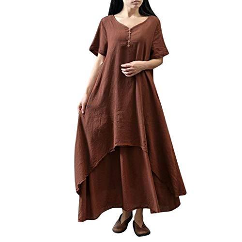 ESAILQ Damen Tägliches Plus Size Splice Lace langes Kleid(XXXXXL,Wein)