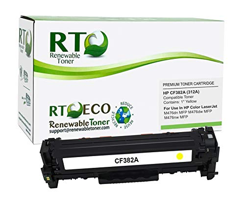 Renewable Toner Compatible Toner Cartridge Replacement for HP 312A CF382A for Color Laserjet Pro MFP M476nw M476dw M476dn (Yellow)