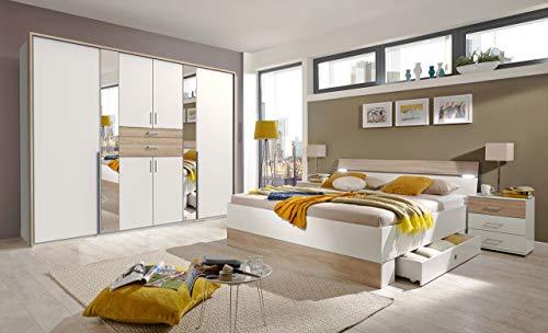 lifestyle4living Schlafzimmer Komplett Set in Eiche Sonoma Dekor und Weiß, 4-teilig | Modernes Komplettset mit Drehtürenschrank, Bett 180x200 LED und 2 Nachtschränken