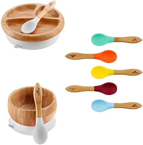 Rainbow Gift Set White Baby Bowl Set Baby Plate Set Assorted Baby Spoons Set Baby Shower Baby product image