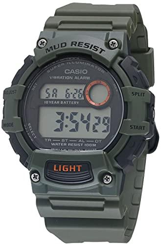 Casio Reloj de cuarzo resistente al barro con batería de 10 años con correa de resina, verde, 27.6 (Modelo: TRT-110H-3AVCF)