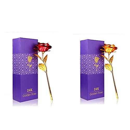 2pcs Rose Flower 24K Gold Plated, Tendlife Rose Gold Foil Eternal Flower con caja de regalo, Decoración del hogar para el Día de la Madre, San Valentín, Navidad