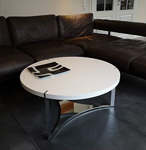 Carl Svensson Edler Design Couchtisch Tisch O-222 rund 90 x 40 cm Chrom (Weiß)