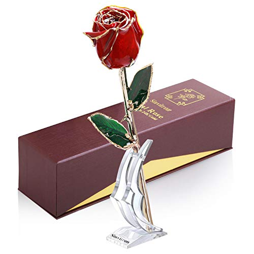 Sinvitron 24K Gold Dipped Rose, Long Sterm Real Rose Dipped in Gold 24K with Stand & Gift Box, Forever Preserved, Great Gifts for Valentines, Anniversary, Mother's Day, Birthday, Christmas (Red)